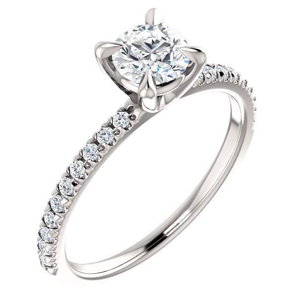 3/4 Carat French-Set Diamond Engagement Ring