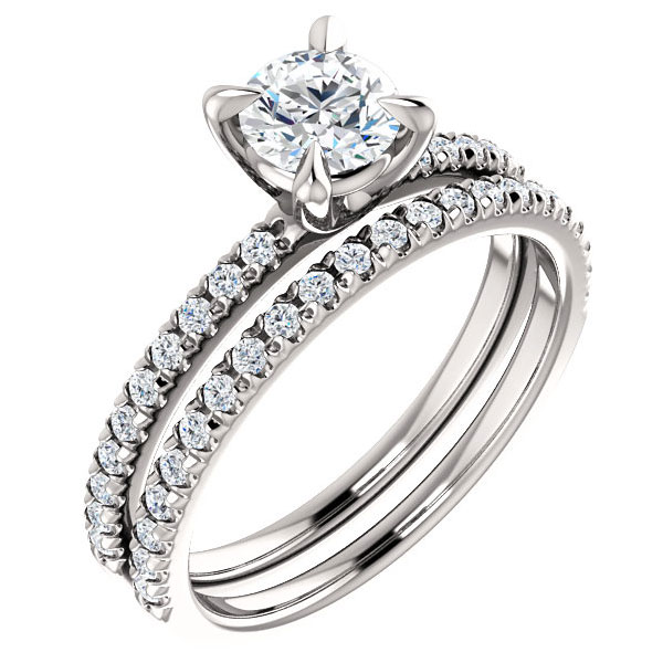 0.92 Carat  French-Set Diamond Bridal Wedding and Engagement Ring Set