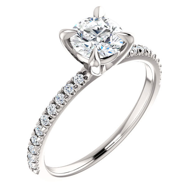 0.95 Carat French-Set Diamond Engagement Ring