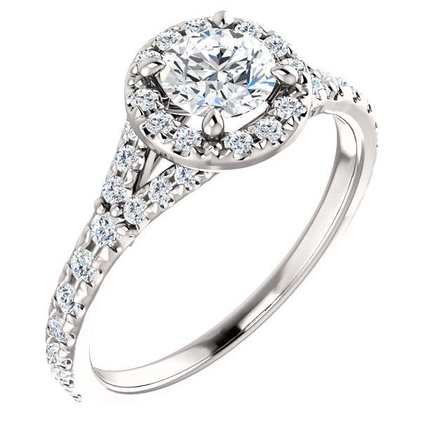 0.96 Carat French-Set Halo Diamond Engagement Ring, 14K White Gold