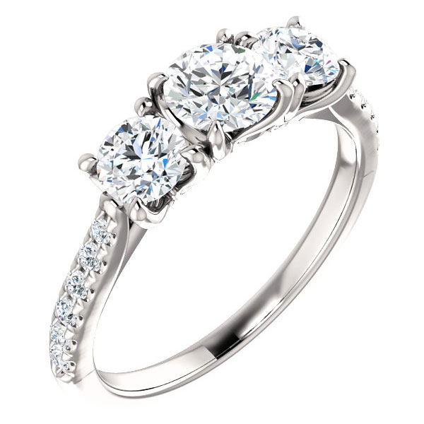 1 1/3 Carat French-Set 3-Stone Diamond Engagement Ring