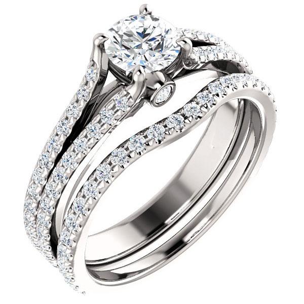 1 1/3 Carat French-Set Dual Diamond Bridal Engagement Wedding Ring Set
