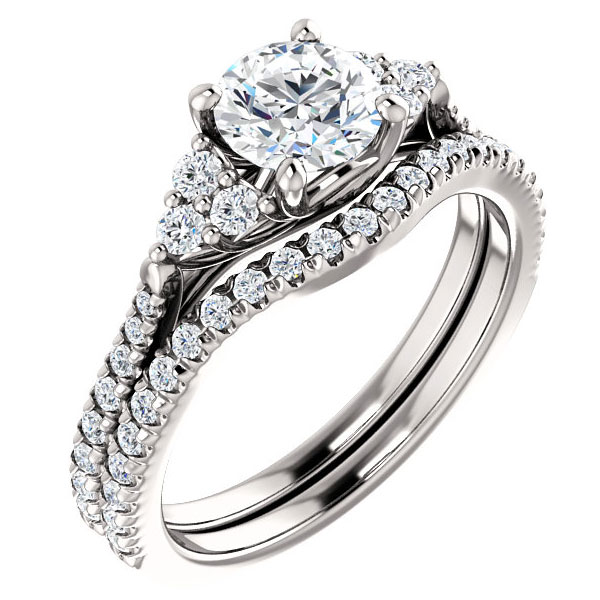 1 1/4 Carat French-Set Diamond Bridal Wedding Engagement Ring Set