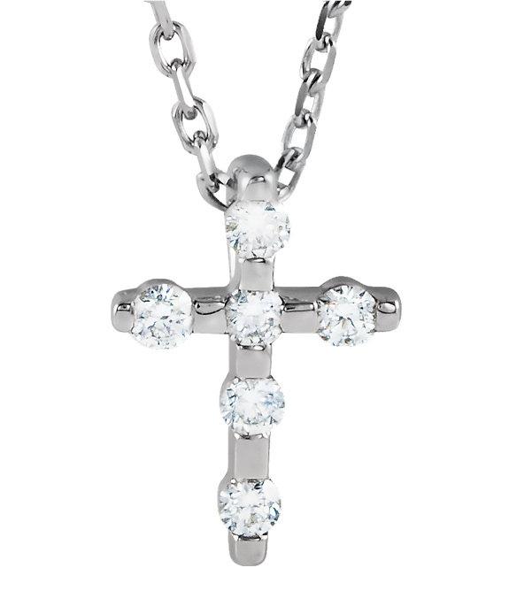 Small 1/10 Carat 14K White Gold Diamond Cross Necklace