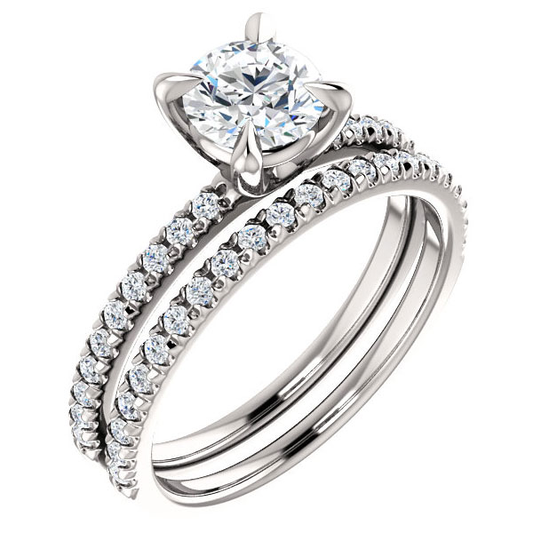1.17 Carat  French-Set Diamond Bridal Engagement Ring Set