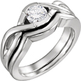1/2 Carat Diamond Modern Embrace Engagement Bridal Ring Set