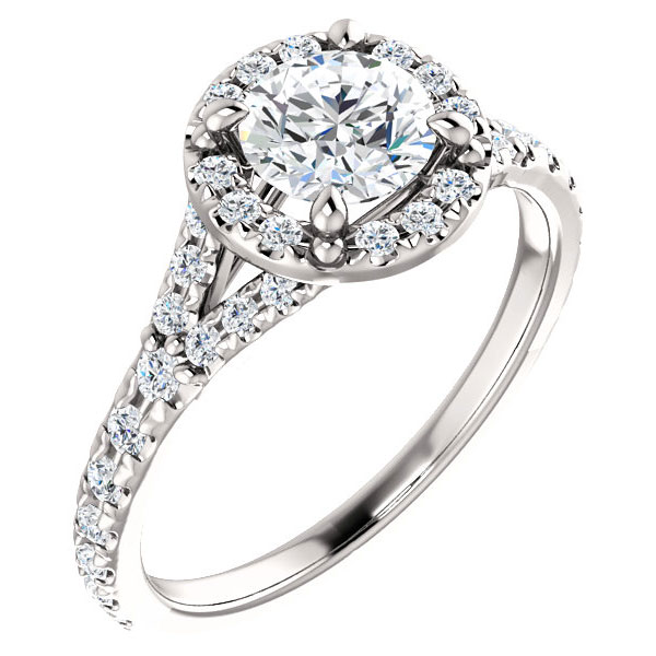 1.21 Carat French-Set Halo Diamond Engagement Ring