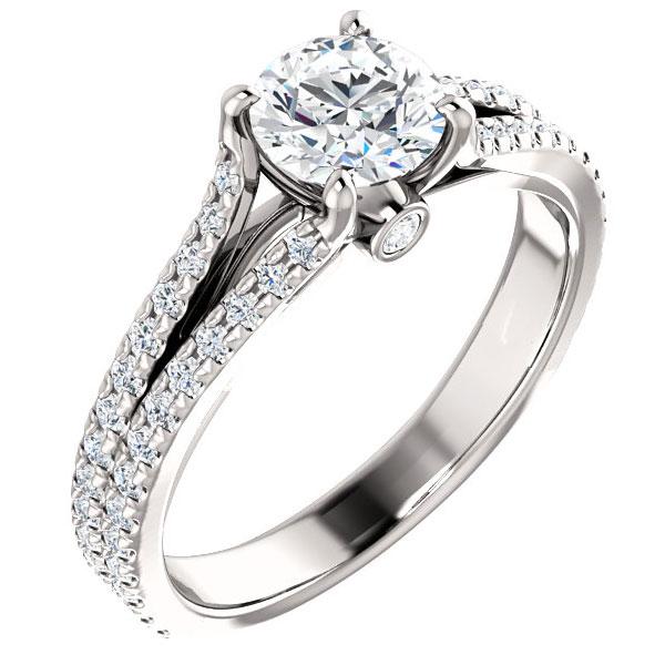 1 1/2 Carat French-Set Dual Diamond Bridal Engagement Ring Set