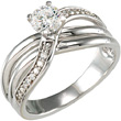 1/3 Carat Diamond Twist-Style Engagement Ring, 14K White Gold