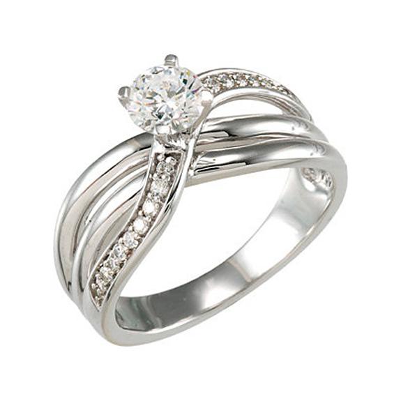 1/3 Carat Diamond Twist-Style Engagement Ring, 14K White Gold