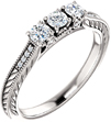 1/3 Carat Three Stone Diamond Design Engagement Ring