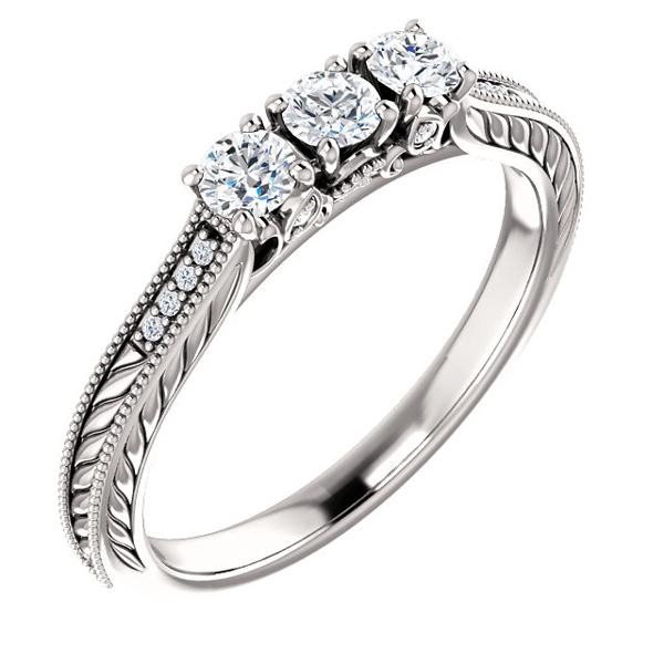1/3 Carat Three Stone Diamond Design Engagement Ring