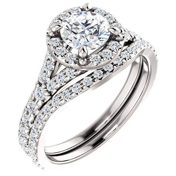 1.42 Carat French-Set Halo Diamond Bridal Wedding Engagement Ring Set