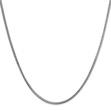 14K White Gold 1.5mm Italian Franco Chain Necklace, 20