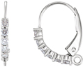 1/8 Carat Diamond Lever Back Earrings, 14K White Gold