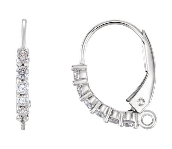 1/8 Carat Diamond Lever Back Earrings, 14K White Gold
