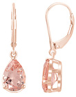 1.80 Carat Leverback Morganite Earrings, 14K Rose Gold