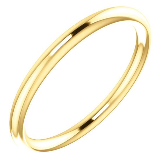 1.9mm Plain 14K Yellow Gold Wedding Band Ring