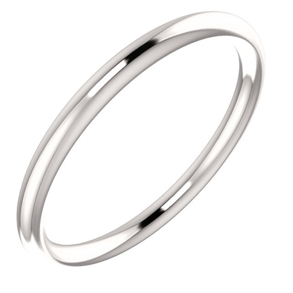 19mm Plain 14K White Gold Wedding Band Ring