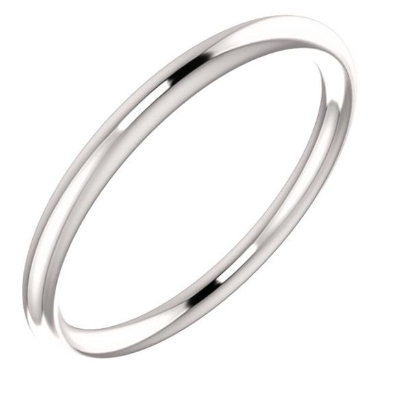 1.9mm Plain 14K White Gold Wedding Band Ring