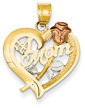 #1 Mom Heart Pendant with Rose in 14K Gold (Tri-Tone)