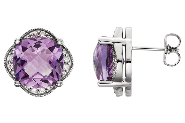 Antique-Checkerboard Amethyst and 1/5 Carat Diamond Earrings
