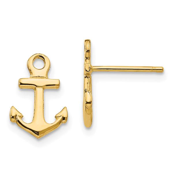 14K Gold Anchor Stud Earrings