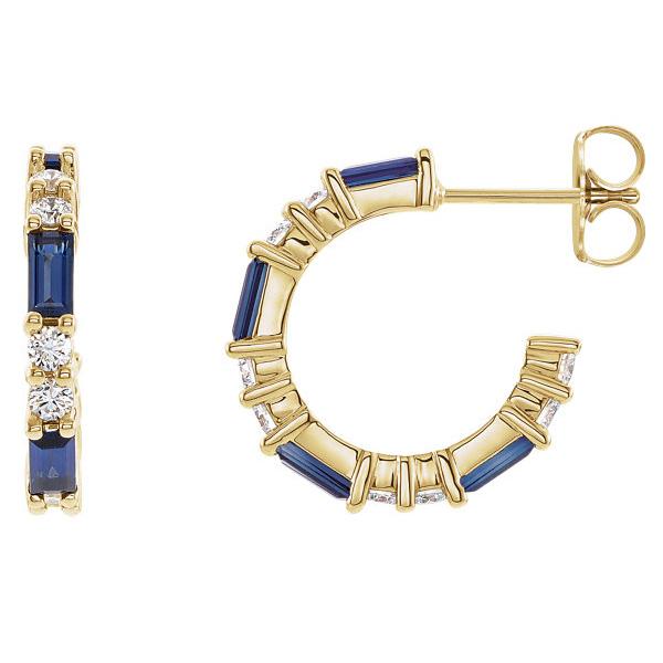 14K Gold Blue Sapphire Baguette and Diamond Earrings