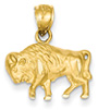 14K Gold Buffalo Pendant