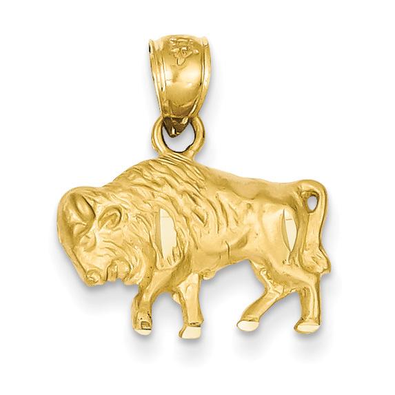 14K Gold Buffalo Pendant
