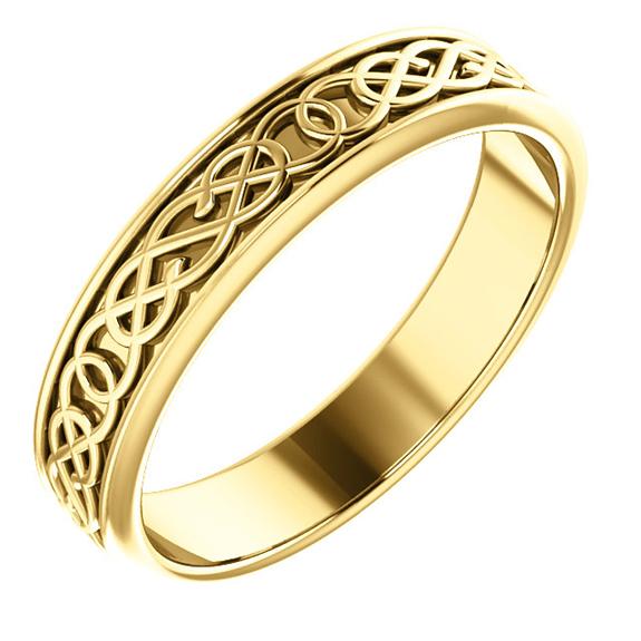 Men's 14K Gold Celtic Pretzel Knot Wedding Band Ring
