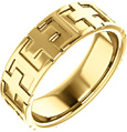 14K Gold Christian Cross Wedding Band Ring