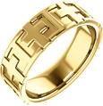 14K Gold Christian Cross Wedding Band Ring