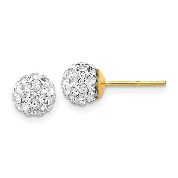 14K Gold Crystal Ball Stud Earrings