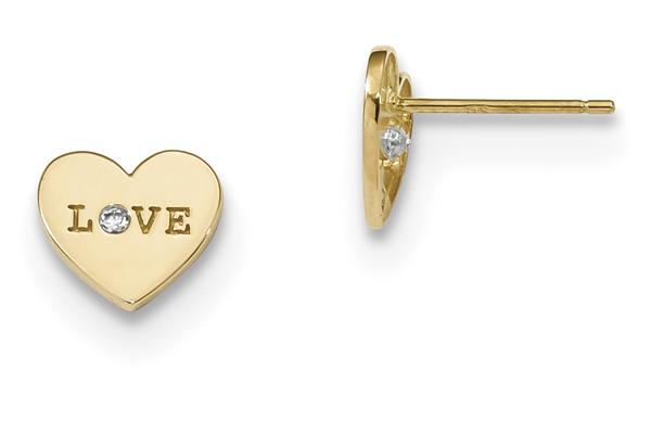 14K Gold CZ Love Stud Earrings