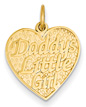 14K Gold Daddy's Little Girl Heart Charm