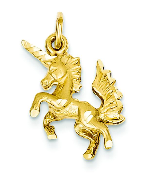 14k Gold Dancing Unicorn Charm