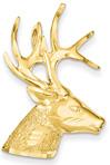 Large 14K Gold Deer Stag Pendant