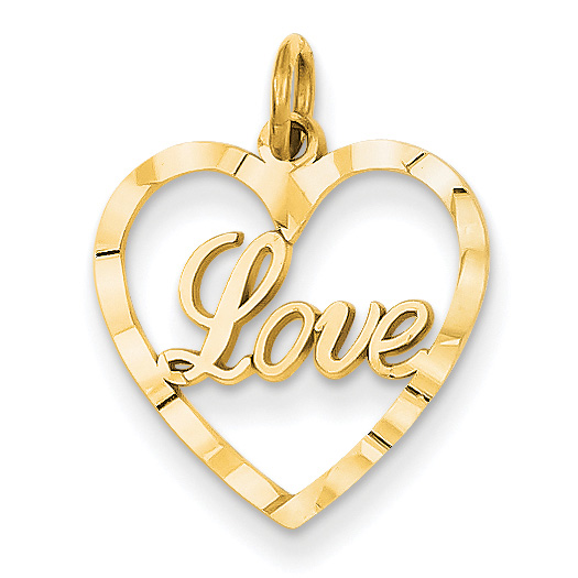 14K Gold Diamond-Cut Love Heart Charm Pendant