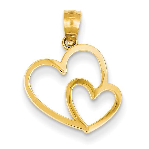 14K Gold Double Heart Charm Pendant