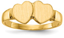 14K Gold Double Heart Engravable Signet Ring