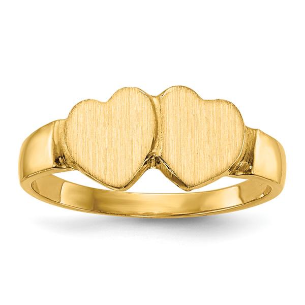14K Gold Double Heart Engravable Signet Ring