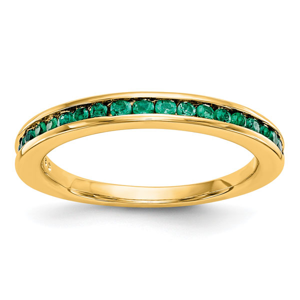 14K Yellow Gold Emerald Band for Women
