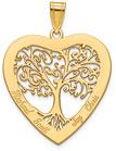 14K Gold Engravable Family Tree Heart Pendant