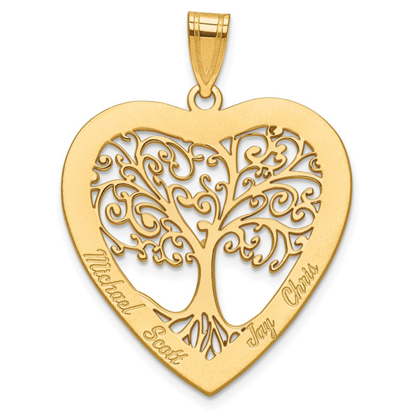 14K Gold Engravable Family Tree Heart Pendant