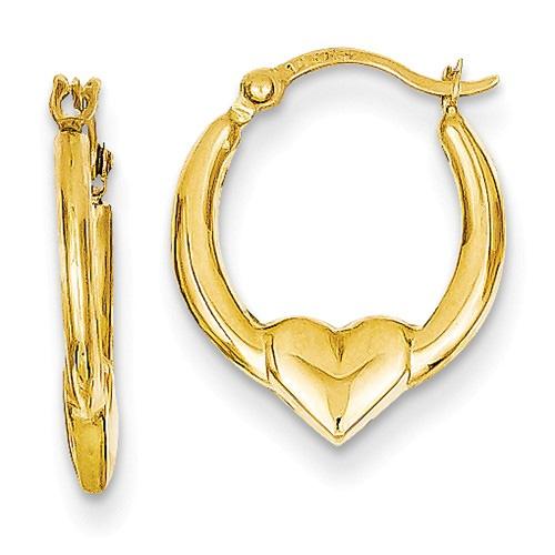 14k Yellow Gold Heart Hoop Earrings