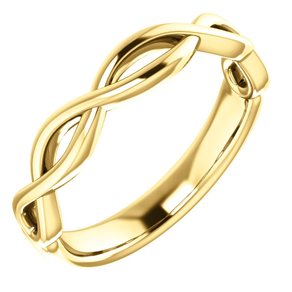 14K Gold Infinity Wedding Band Ring for Men