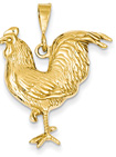14K Gold Large Rooster Pendant