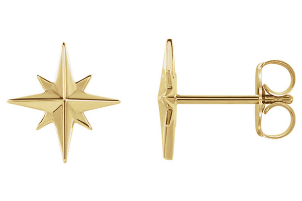14K Gold North Star Stud Earrings
