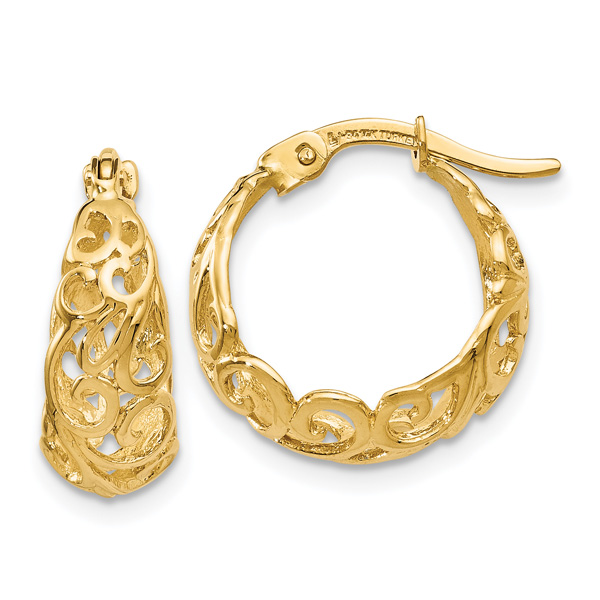 Small 14K Gold Paisley Hoop Earrings